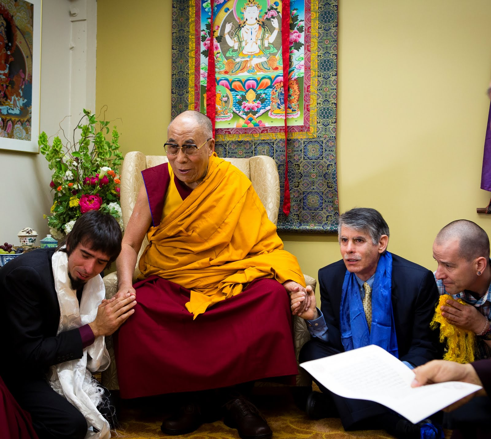Tenzin Ösel Hita, His Holiness the Dalai Lama, FPMT International Office Director of Operations and Director of FPMT Education Tom Truty. Photo by Leah Nash.