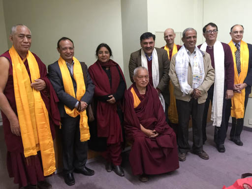 Lama Zopa Rinpoche with Maitreya Buddha Kushinagar Project board members, Delhi, January 2015. Photo by Ven. Roger Kunsang.