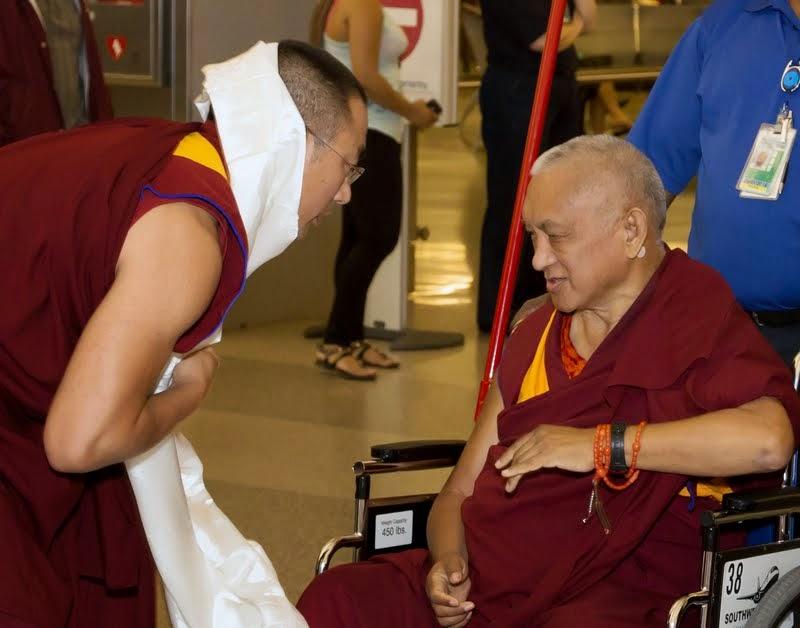 Geshe Sangpo, Kadampa Center assistant teacher, welcoming Lama Zopa Rinpoche, North Carolina, US, April 30, 2014. Photo by David Strevel.