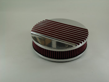 """Aluminum 9"""" round with cotton gaze filter. most all carb bases are available for 1,2,4 barrel carburetors. 115.00 ..we also have these that are 6"""" for dual quads."""
