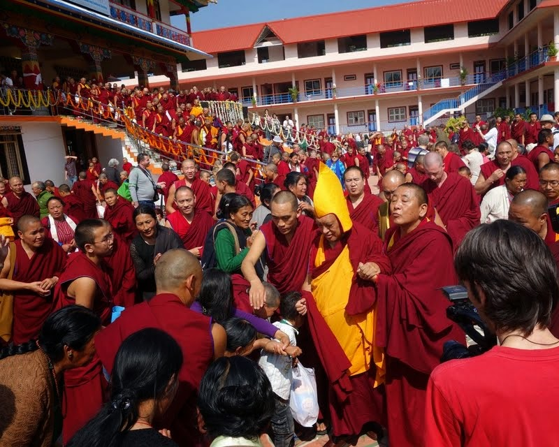 After long life puja for Lama Zopa Rinpoche in Drati Khangtsen, where 70 FPMT centers were represented, 17 FPMT geshes were present and as well as many overseas students. More than a thousand monks and many lay people were in attendance, Sera Je Monastic University, India, December 2013. Photo by Ven. Roger Kunsang.