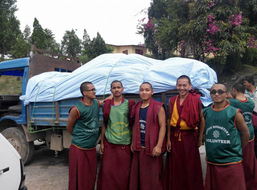 Kopan monks on one of many aid distribution trips, Nepal, May 2015. Photo by Gehse Thubten Jinpa.
