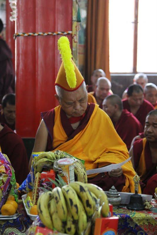 Lama Zopa Rinpoche during Wangya Norbu Tangwa initations, Dheradun 2012