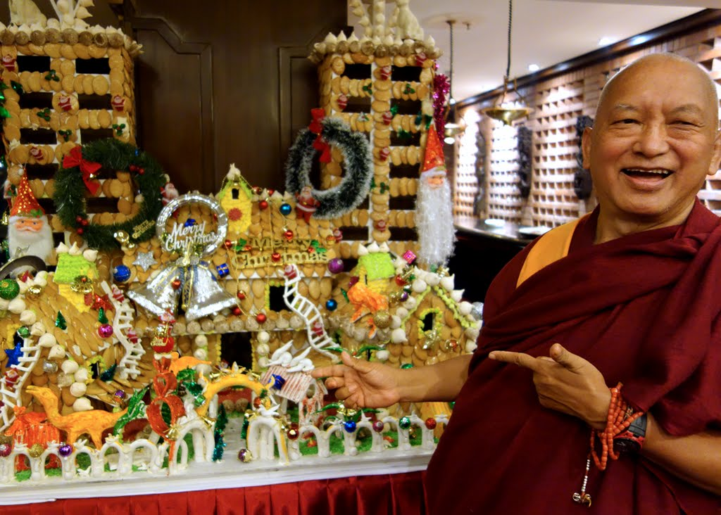 Lama Zopa Rinpoche sends wishes for a Merry Christmas to all in FPMT, Kopan Monastery, Nepal, December 2014. Photo by Ven. Roger Kunsang.