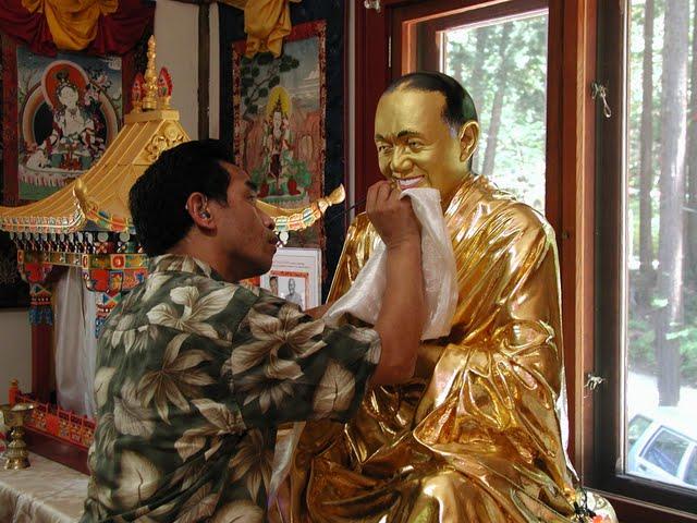 Gelek works on Lama Yeshe statue at Vajrapani Institute, California, USA