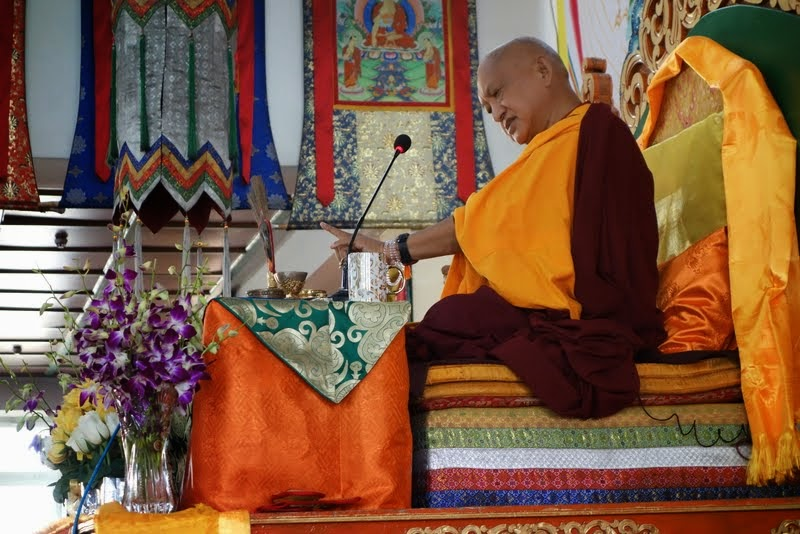 """Lama Zopa Rinpoche teaching during Amitayuslonglifeinitiation, Ulaanbaatar, Mongolia, August 2014. Photo by Ven. Roger Kunsang. """"If you want happiness, cherish others,"""" Rinpoche is saying."""
