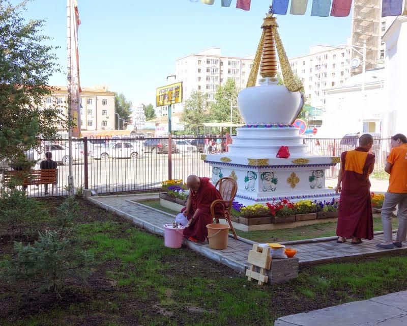 Lama Zopa Rinpoche doing Dzambhala practice at Ganden Do Ngag Shedrup Ling, Ulaanbaatar, Mongolia, August 2014. Photo by Ven. Roger Kunsang.