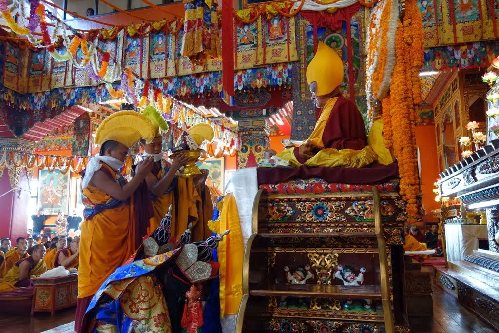 Tsog offering during the long life puja for Lama Zopa Rinpoche at Kopan Monastery, Nepal, December 9, 2013. Photo by Ven. Roger Kunsang.