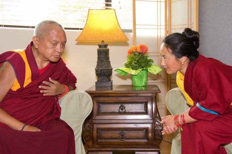 Lama Zopa Rinpoche and Rangjung Neljorma Khandro Namsel Drolma at FPMT International Office, Portland June 2012