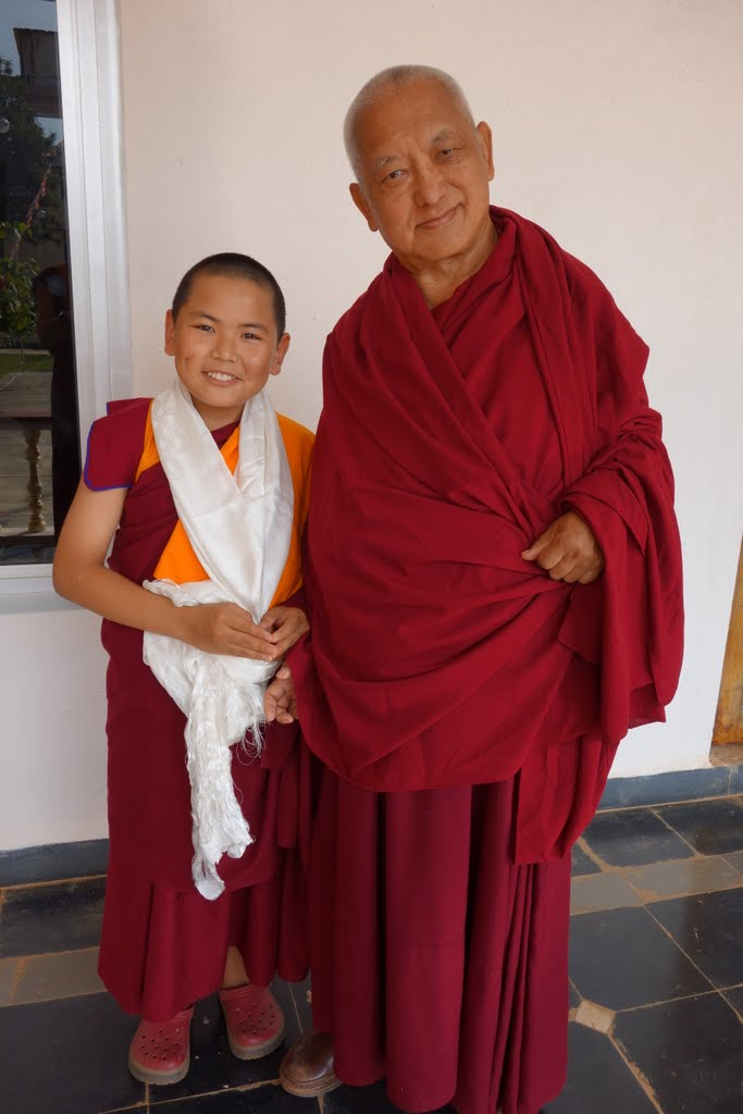 Lama Zopa Rinpoche with Tenzin Phuntsok Rinpoche, Gaden Monastery, India, December 2014. Photo by Ven. Roger Kunsang.