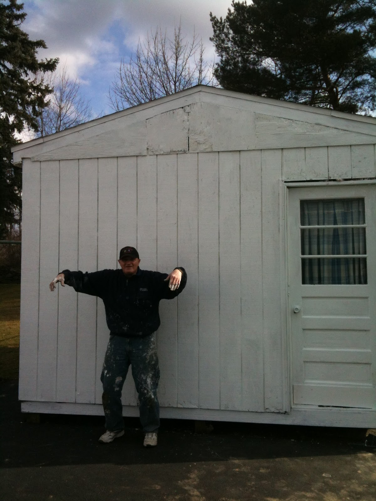 """My dad and I called this """"the day the eagle died"""" -- we tried to save that crazy eagle but sadly it plummeted to its death. The shed is looking much better now."""