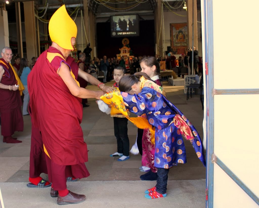 Lama Zopa Rinpoche entering the Great Stupa of Universal Compassion for the long life puja, Australia, September 19, 2014. Photo by Laura Miller.