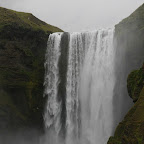 Skógafoss, 60 m high, 25 m wide - situated at the cliffs of the former coastline, now 5 km away from it
