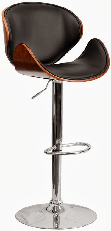 FLASH SD-2203-WAL-GG WALNUT BENTWOOD ADJUSTABLE HEIGHT BAR STOOL WITH CURVED BLACK VINYL SEAT AND BACK