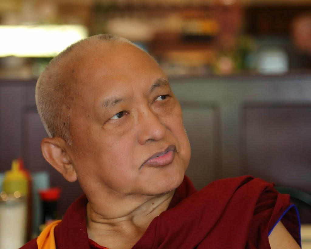 Lama Zopa Rinpche at lunch in Portland, Oregon, US, April 2014. Photo by Ven. Thubten Kunsang.