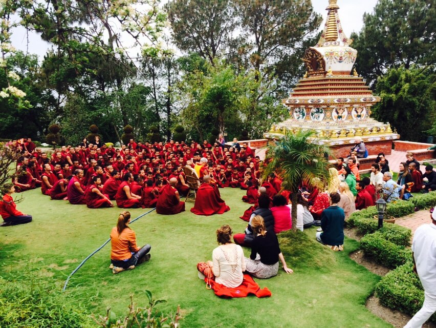 Lama Zopa Rinpoche leading prayers at Kopan, days after first earthquake.