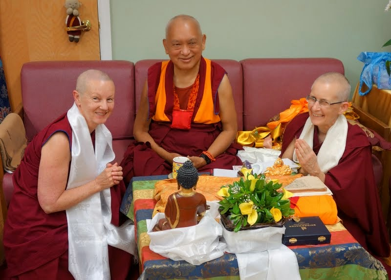 Lama Zopa Rinpoche with Ven. Gyalmo and Ven.Tsapel, who both work at FPMT centers in Mongolia, Light of the Path, North Carolina, US, May 2014. Photo by Ven. Roger Kunsang.