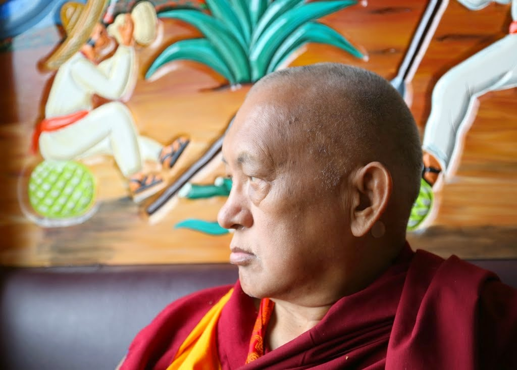 Lama Zopa Rinpoche at a Mexican restaurant in northcentral Washington, US, April 2014. Photo by Ven. Thubten Kunsang.