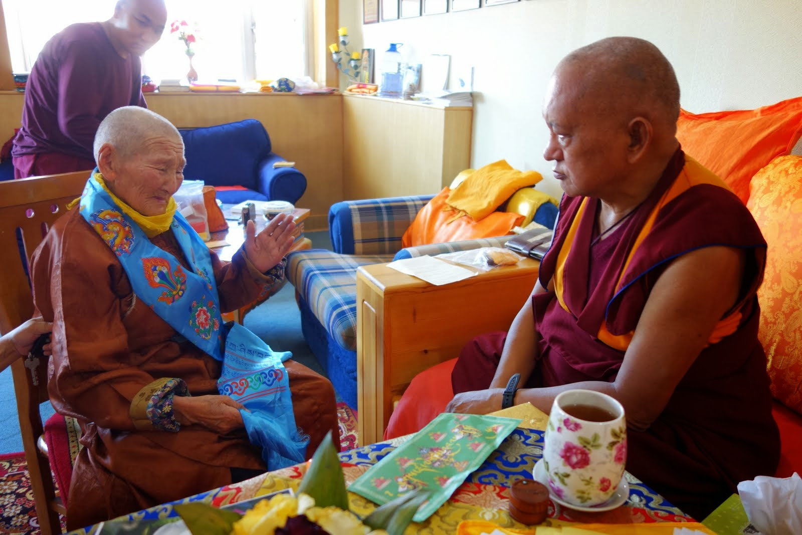 "The old Mongolian woman said she just needed to see Rinpoche's face before she died. This was her main request. Here she is saying to Rinpoche: ""I am ready to die, please take me to a good place after death. I don't want to be born human it is too difficult."" After her request Rinpoche gave her lungs and recited many prayers for her. She cried continuously, so grateful. Aug 25, 2013. Photo Ven. Roger Kunsang."