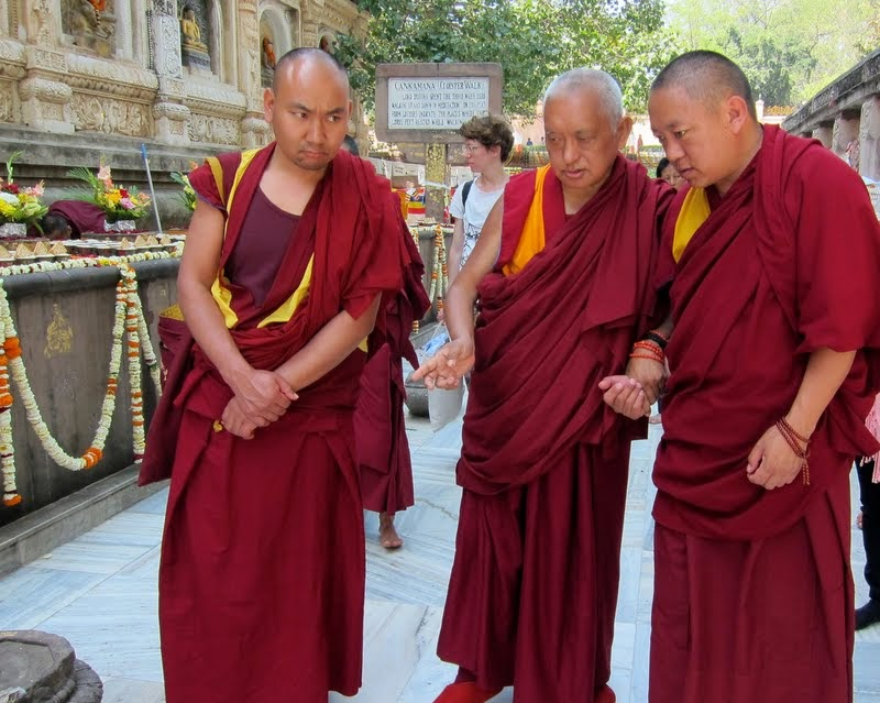 On the Day of Miracle, Chotrul Duchen, Lama Zopa Rinpoch circumambulated the Mahabodhi Stupa while reciting Lama Tsongkhapa's Lekshay Nyingpo, Bodhgaya, India, March 2014. Photo by Ven. Sarah Thresher.