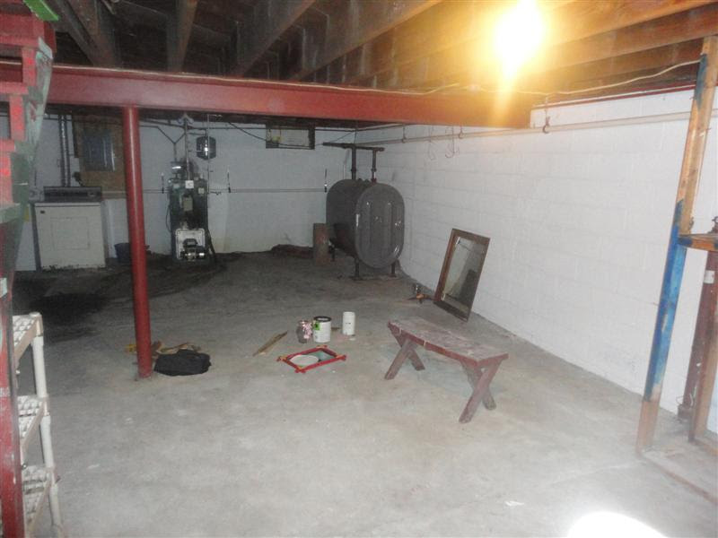 yucky basement, furnace, oil tank