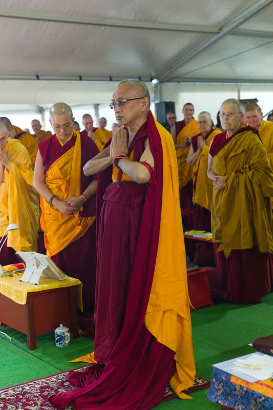 Lama Zopa Rinpoche and Sangha during retreat in Australia April 2011