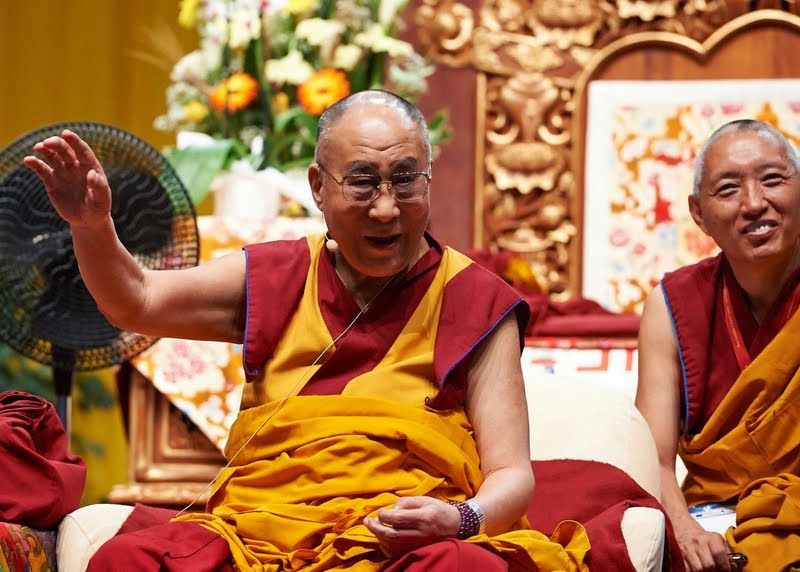 His Holiness the Dalai Lama teaching with Geshi Tashi Tsering (and Fabrizio Pallotti, not pictured) providing interpretation, Livorno, Italy, June 14, 2014. Photo by Olivier Adam.