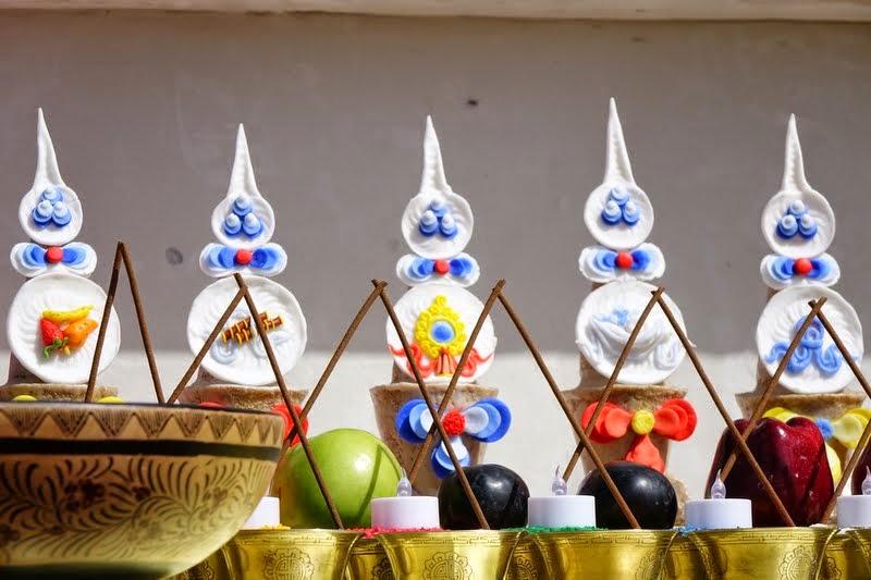 Five sense offerings tormas, Amitabha celebration day, Buddha Amitabha Pure Land, Washington, US, August 2014. Photo by Ven. Roger Kunsang.
