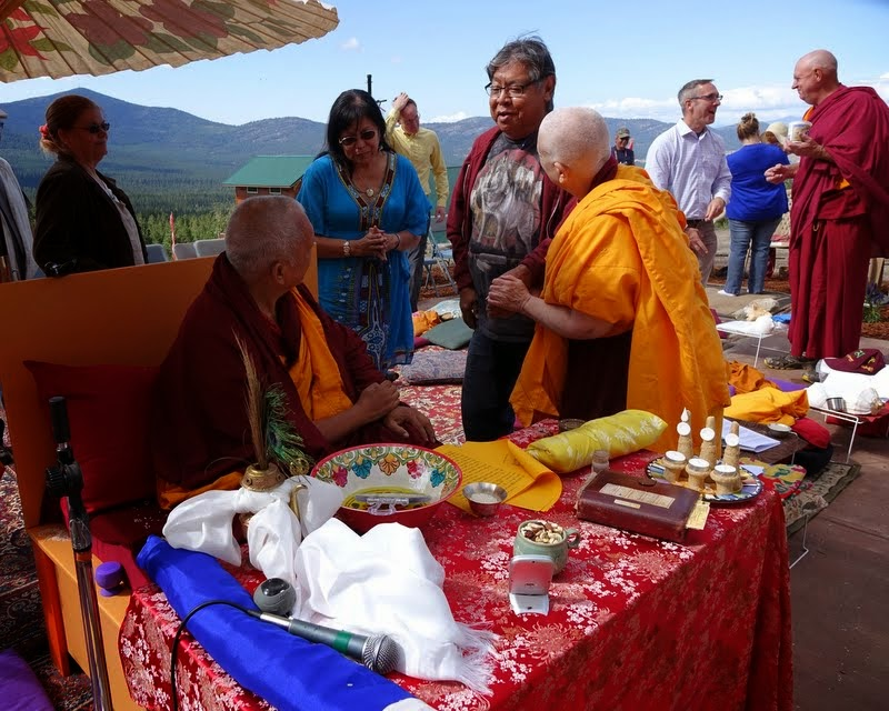 Rinpoche meeting local Native Americans, Amitabha celebration day, Buddha Amitabha Pure Land, Washington, US, August 2014. Photo by Ven. Roger Kunsang.