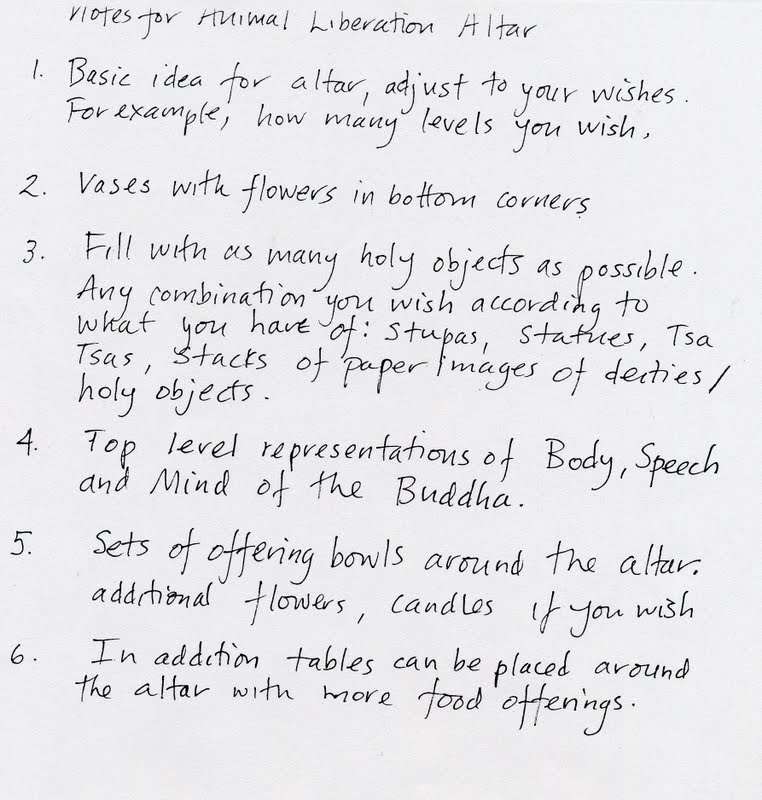 Lama Zopa Rinpoche's notes for an Animal Liberation Altar.