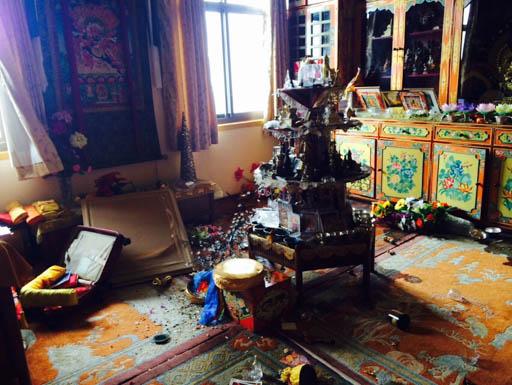 Lama Zopa Rinpoche's room at Kopan Monastery after the April 25 earthquake, Nepal, April 2015. Kopan Monastery experienced structural damage, but no loss of life. Photo by Ven. Sangpo Sherpa.