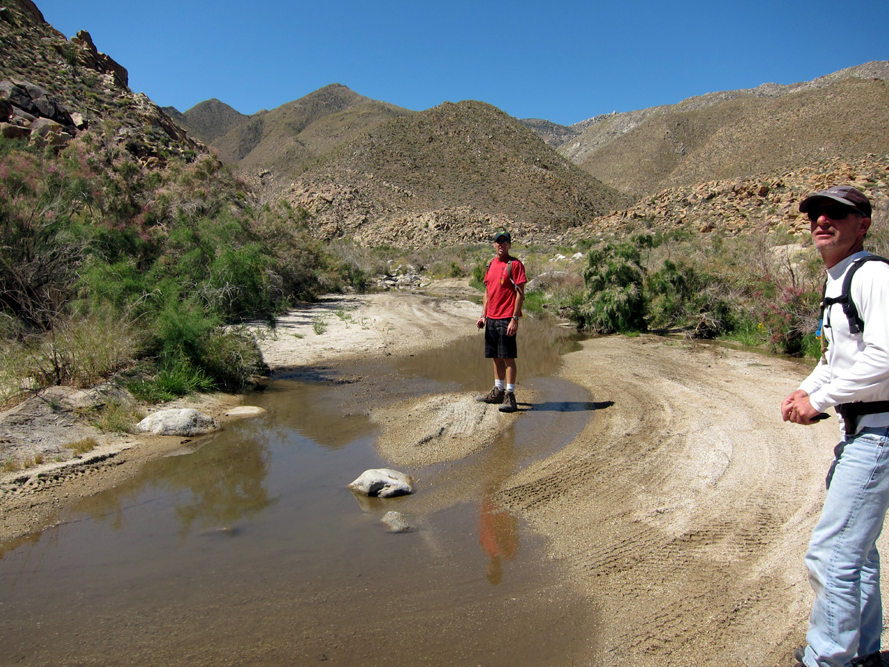 Water was still flowing at the north end of Carrizo Gorge