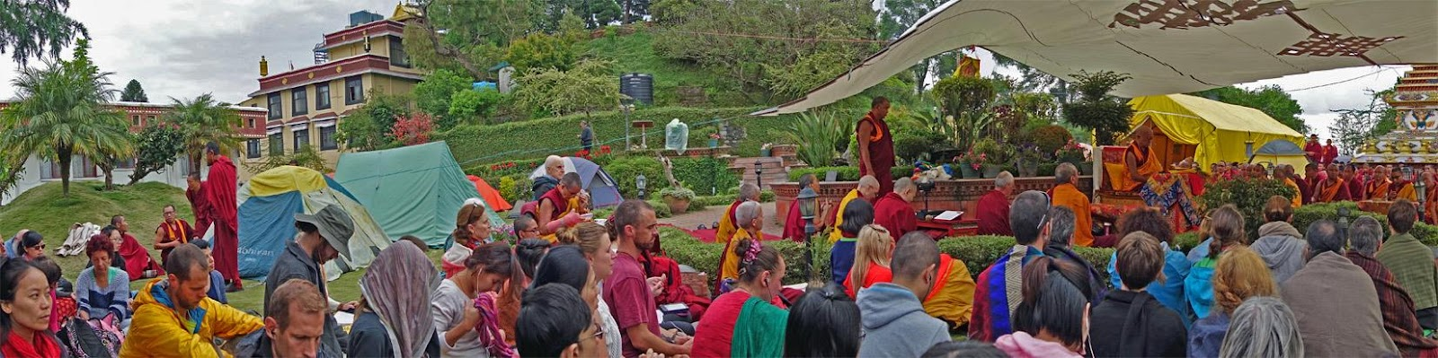 Students attending a teaching by Lama Zopa Rinpoche at Kopan Monastery after the first earthquake.
