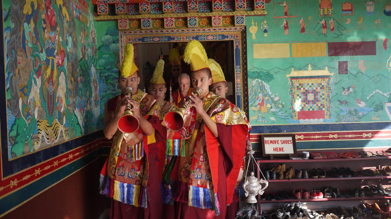 Monks offering music, long life puja, Kopan Monastery Dec 2010.