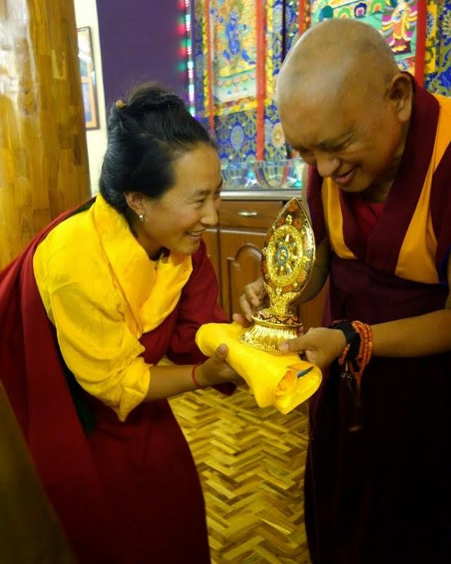 Khadro-la greeting Lama Zopa Rinpoche at Sera Monastery, India, December 2013. Photo by Ven. Roger Kunsang.