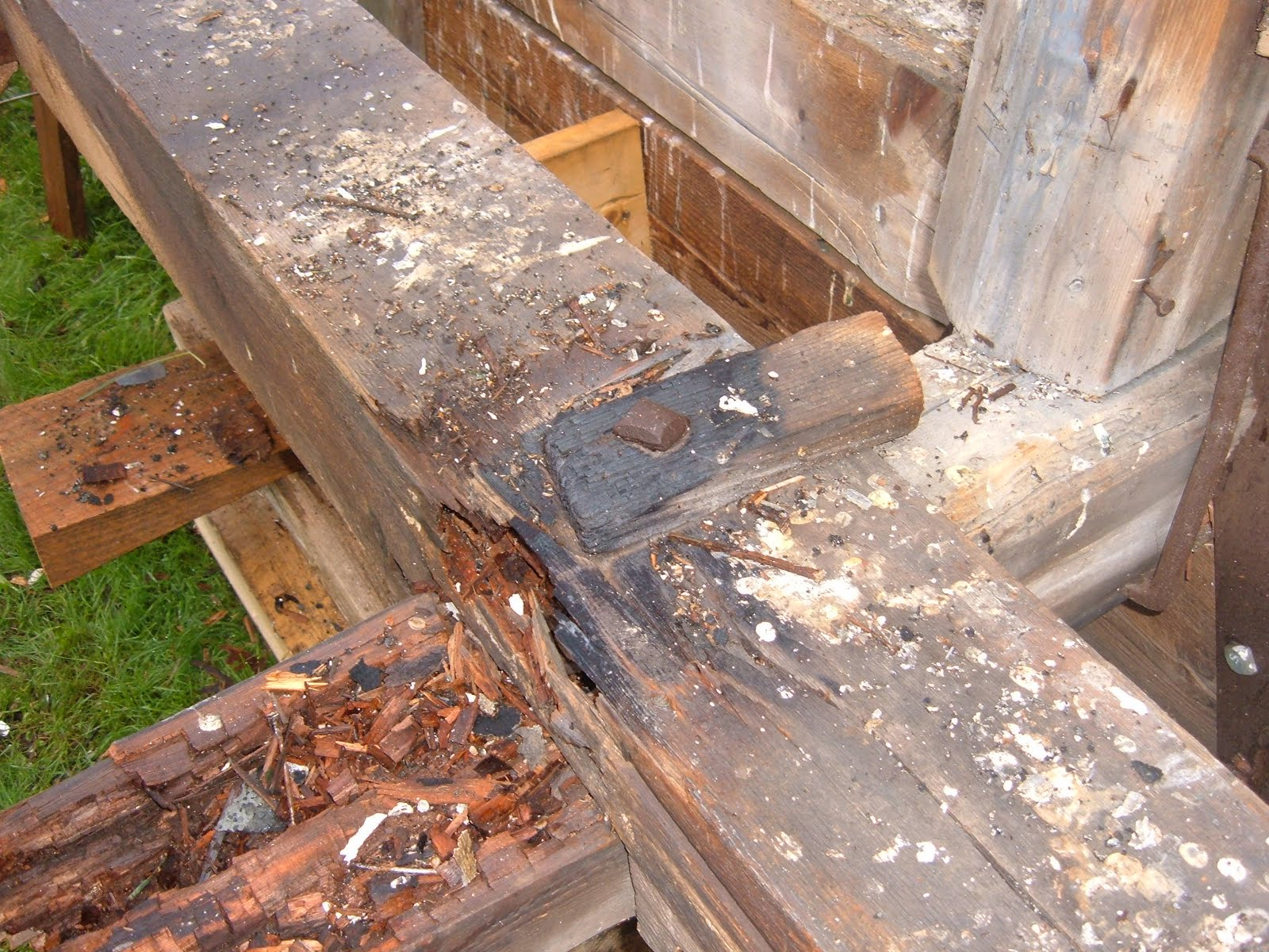 The timbers that had been added to the base of the pire had been sistered with timbers of equal size when the rubber membrane was added.  The new timbers were almost as rotten as the timbers of the original spire base.