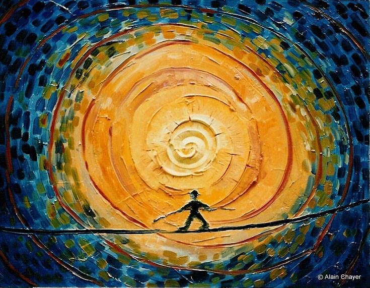 028 - Le Funambule - 1993 60 x 46 - Acrylique sur bois