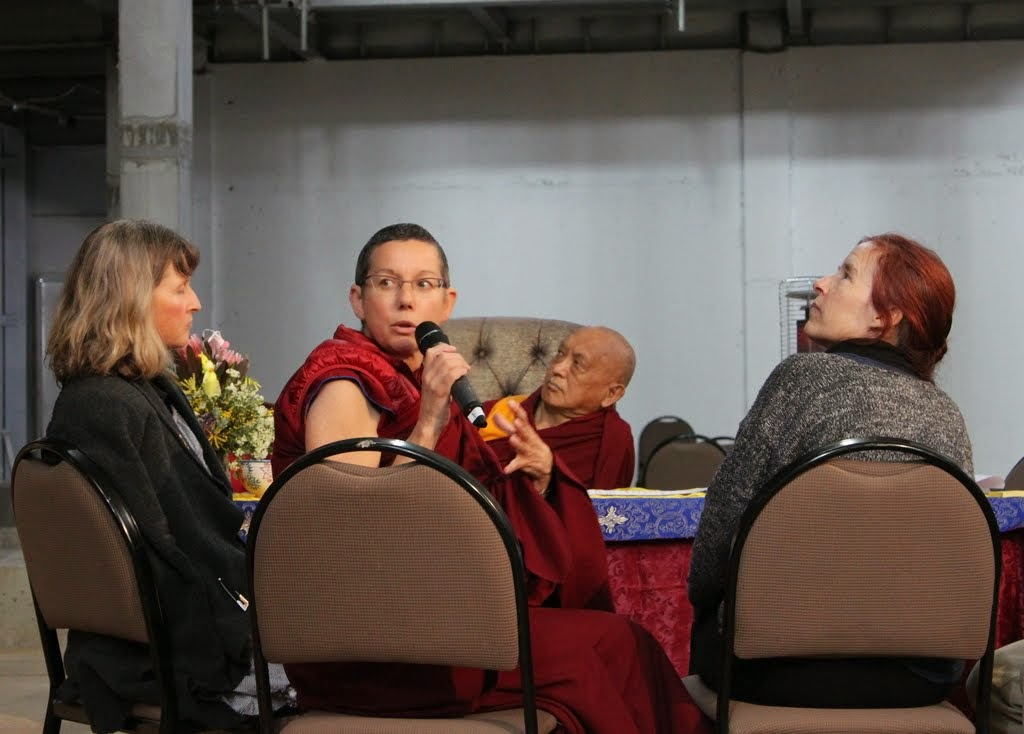 Lama Zopa Rinpoche, Phillipa Rutherford, Ven. Kaye Miner and Drolkar McCallum reporting back from group discussion, CPMT 2014, Great Stupa of Universal Compassion, Australia, September 2014. Photo by Laura Miller.