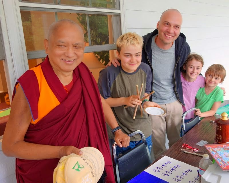 Lama Zopa Rinpoche with Maddie, Troy, Mia and Maude, Black Mountain, North Carolina, May 2014. Photo by Ven. Roger Kunsang.