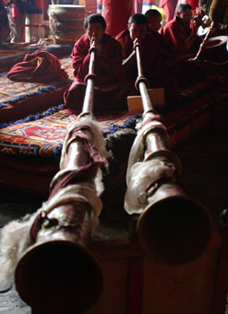 Monks Playing Horns