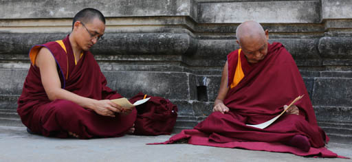 Lama Zopa Rinopche with Ven. Losang Sherab at the Mahabodhi Stupa, Bodhgaya, India, March 2015. Photo by Ven. Thubten Kunsang.