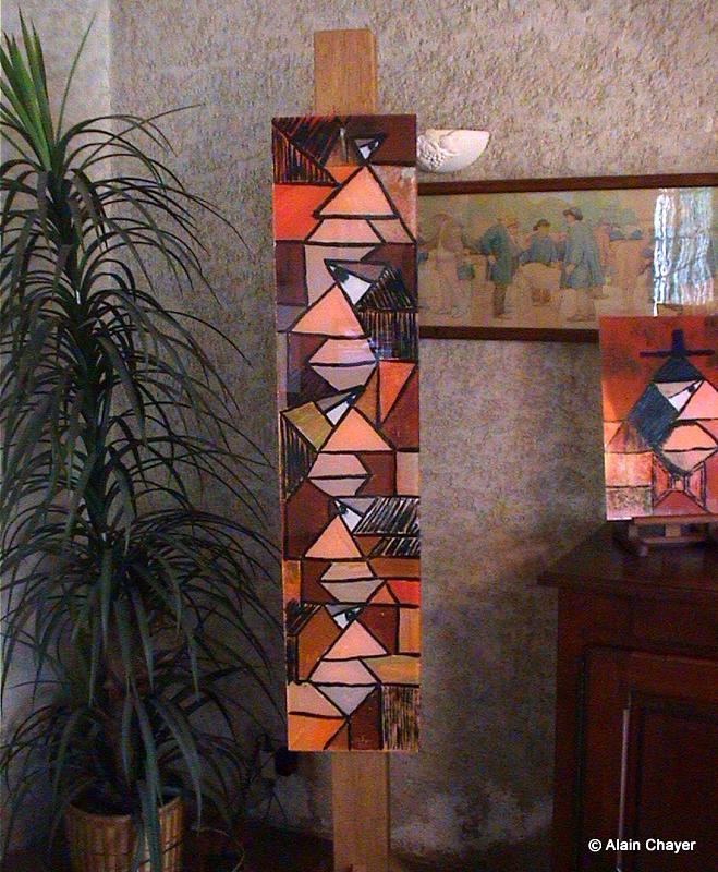 061.1 - Ermitage - 1994 28,5 x 130 - Acrylique résine, support bois exotique 2 m