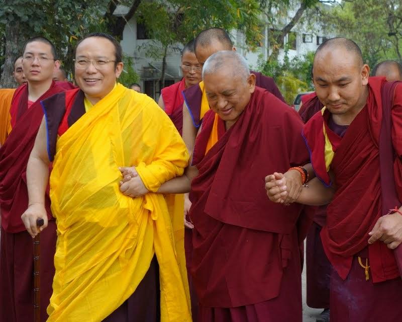 Tai Situ Rinpoche and Lama Zopa Rinpoche on Maitreya Project land, Bodhgaya, India, March 2014. Photo by Ven. Roger Kunsang.