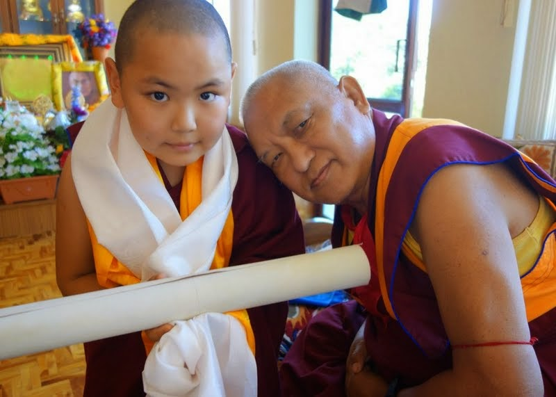 Tenzin Phuntsok Rinpoche and Lama Zopa Rinpoche, Sera Je Monastery, India, January 2014. Photo by Ven. Roger Kunsang.