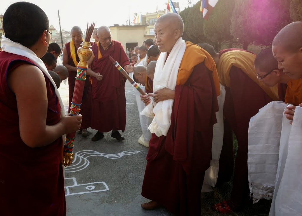 The nuns of Khachoe Ghakyil Ling (Kopan Nunnery) welcome Lama Zopa Rinpoche back to Nepal and Kopan, Kathmandu, Nepal, November 22, 2013. Photo by Ven. Roger Kunsang.