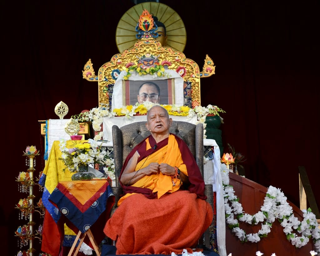 Lama Zopa Rinpoche during public teaching at Great Stupa of Universal Compassion, Australia, September 20, 2014. Photo by Kunchok Gyaltsen.