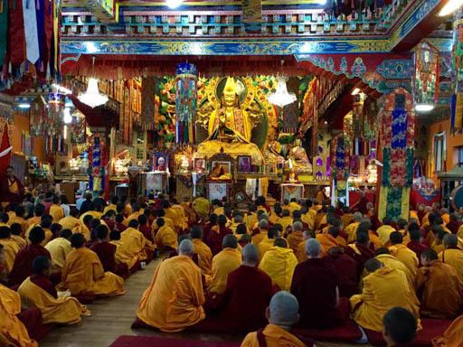 Lama Zopa Rinpoche after earthquake at Kopan Monastery, Nepal, April 2015. Photo by Ven. Sarah Thresher.