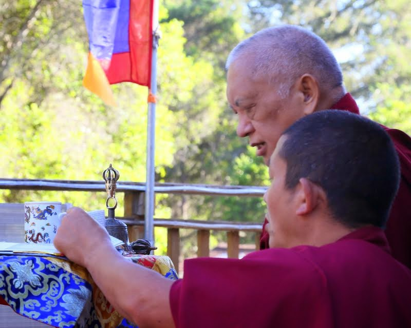 Lama Zopa Rinpoche doing incense puja at Kachoe Dechen Ling, Aptos, California, US, May 2014. Photo by Ven. Thubten Kunsang.