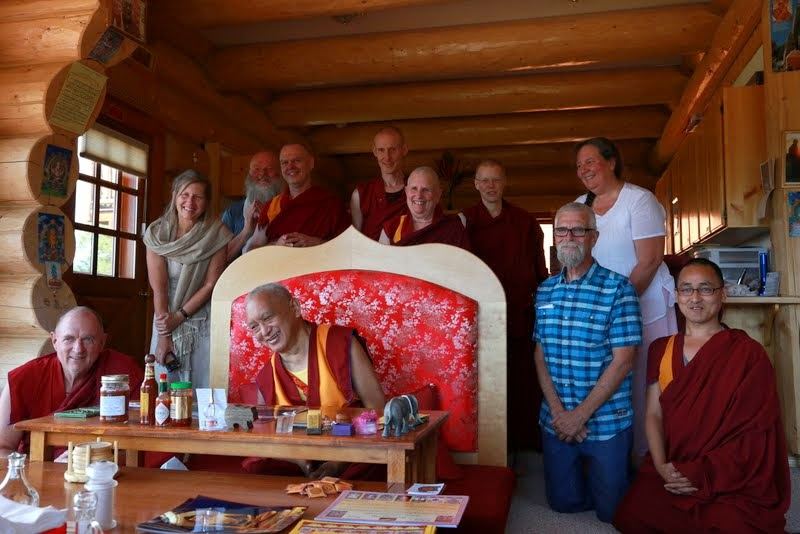 Lama Zopa Rinpoche and students during all-day-and-night Lama Chöpa puja that started at lunch and went to 4 a.m., Buddha Amitabha Pure Land, Washington, US, July 2014. Photo by Ven. Thubten Kunsang.
