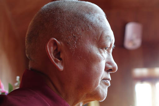 Lama Zopa Rinpoche at Lawudo Retreat Centre, Nepal, April 2015. Photo by Ven. Roger Kunsang.